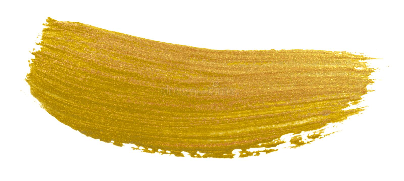 Curso da mancha da escova de pintura do ouro Mancha dourada acrílica da cor no fundo branco Illustrati lustroso textured de brilh imagens de stock
