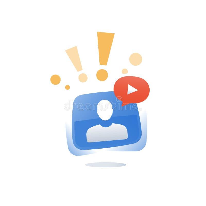 Curso da Web e recursos, conceito webinar, curso em linha, seminário do Internet, orientação distante, chamada video ilustração stock