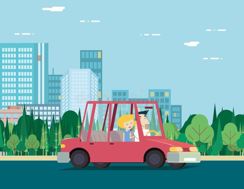 Curso de carro dos pares das férias da natureza do dia de verão ilustração royalty free