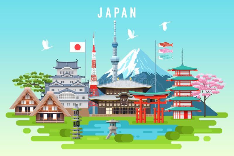 Curso de Japão infographic ilustração do vetor