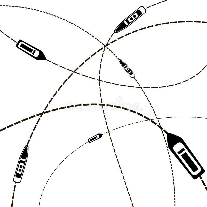 Curso de mar navio em suas rotas do destino ilustração stock