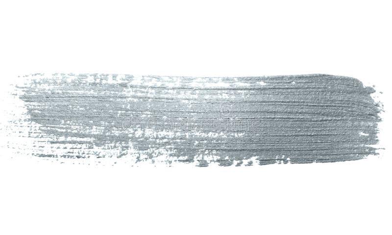 Curso de prata da escova de pintura do brilho ou mancha abstrata da solha com textura do borrão no fundo branco Sil efervescente  fotografia de stock royalty free