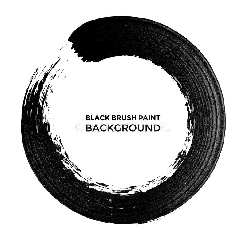 Curso de tinta preta da pintura do círculo do vetor ilustração stock