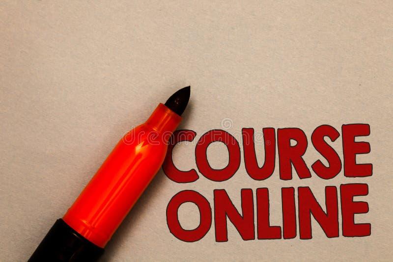 Curso del texto de la escritura de la palabra en línea Concepto del negocio para la clase distante de Digitaces del estudio de la imagen de archivo