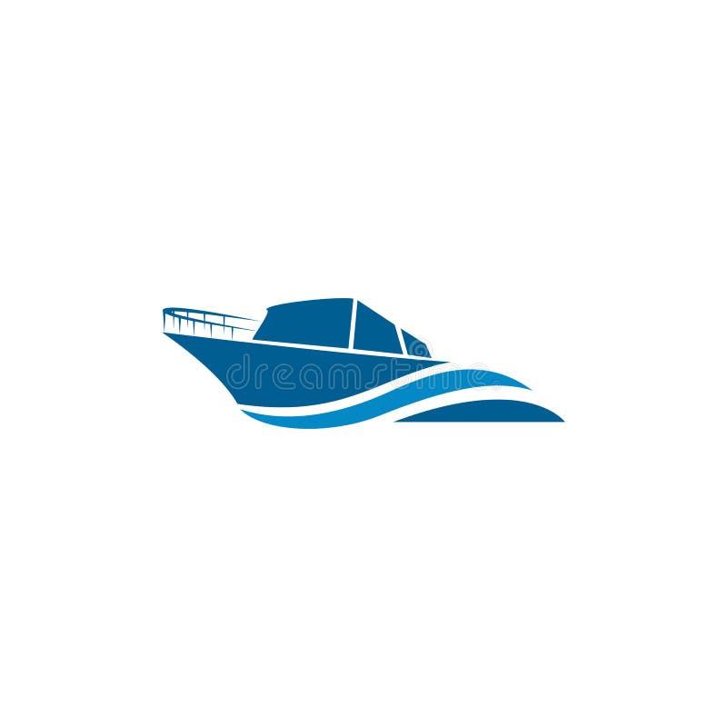 Curso do barco, ilha, vetor do logotipo da praia ilustração royalty free