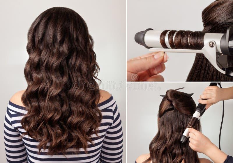 Curso do cabelo encaracolado do penteado fotos de stock royalty free