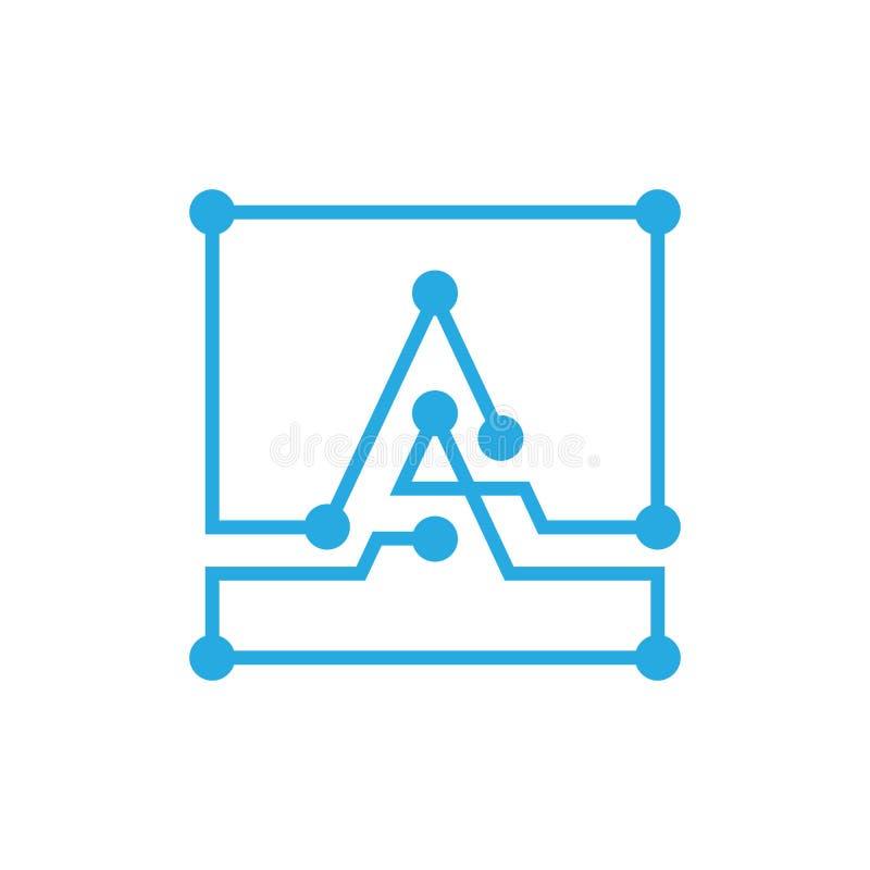 Curso do esboço do quadrado do logotipo do blockchain da letra inicial A ilustração do vetor