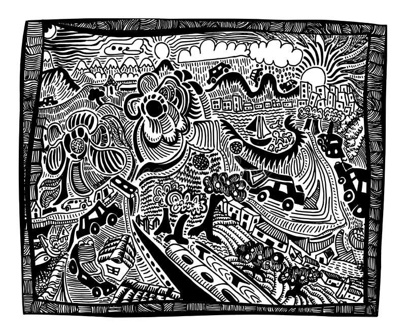 Curso do feriado oficial - ilustração tirada mão ilustração stock