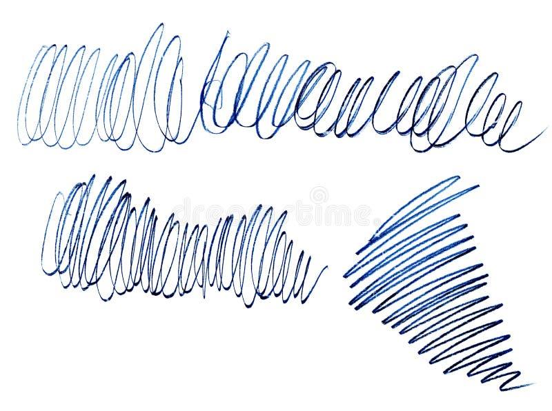Curso do l?pis da onda, linha azul bitmap Textura de Grunge Linha caótica gráfica Curso desarrumado criativo linear ilustração stock