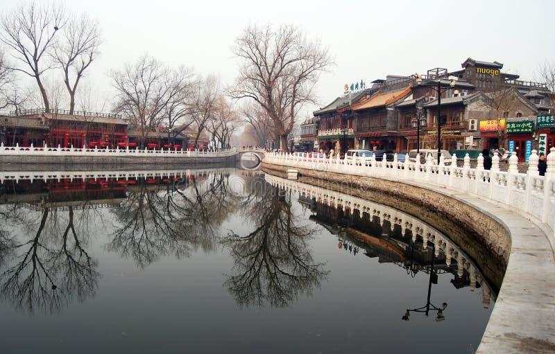 Curso do lago Beijing Shichahai, Beijing fotos de stock royalty free