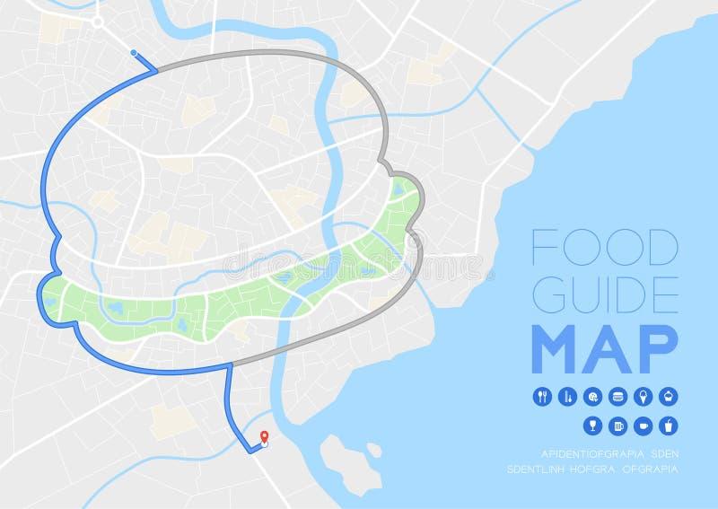 Curso do mapa do sentido do guia do alimento com conceito do ícone, projeto da forma do Hamburger da estrada na ilustração do mod ilustração stock