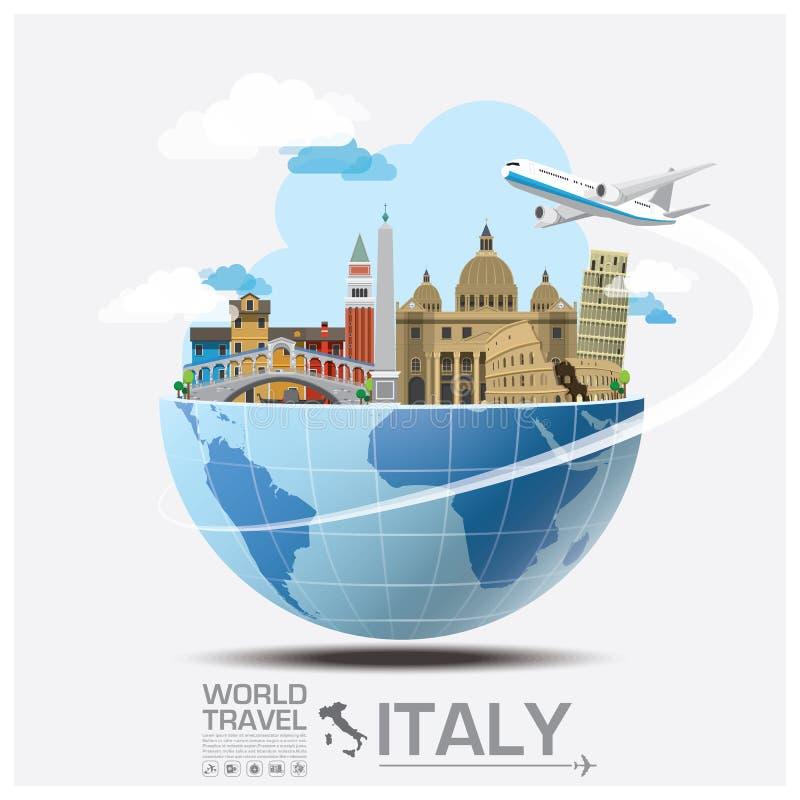 Curso do marco de Itália e viagem globais Infographic ilustração do vetor