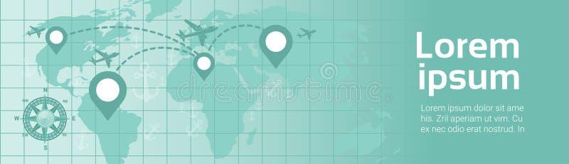 Curso do mundo pela mosca plana do avião da bandeira do molde sobre o mapa da terra com planeamento da rota dos ponteiros da nave ilustração do vetor