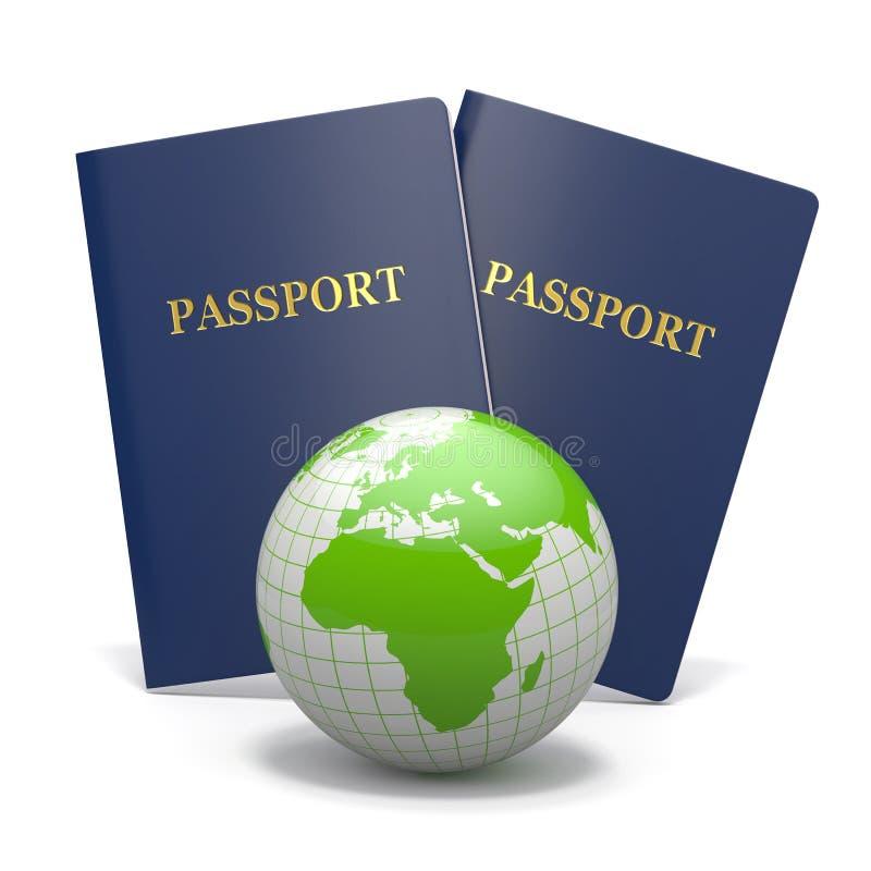 Curso do mundo. Terra e passaporte. 3d ilustração do vetor