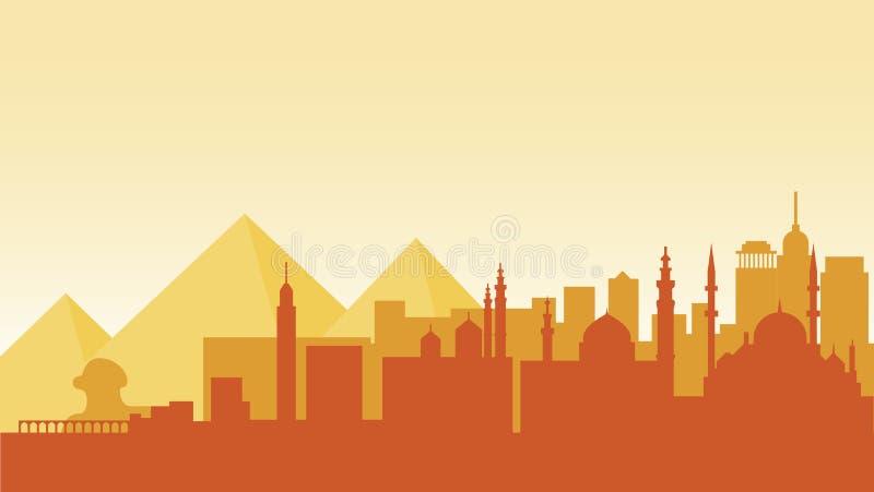 Curso do país da cidade da cidade das construções da arquitetura da silhueta de Egito ilustração do vetor