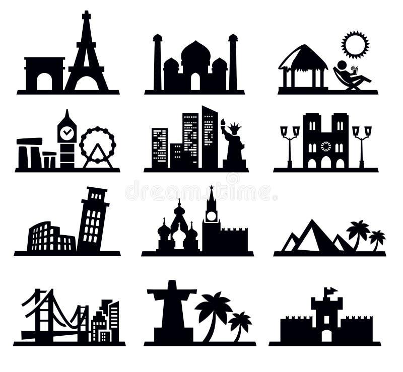 Curso e ícones dos marcos ilustração royalty free
