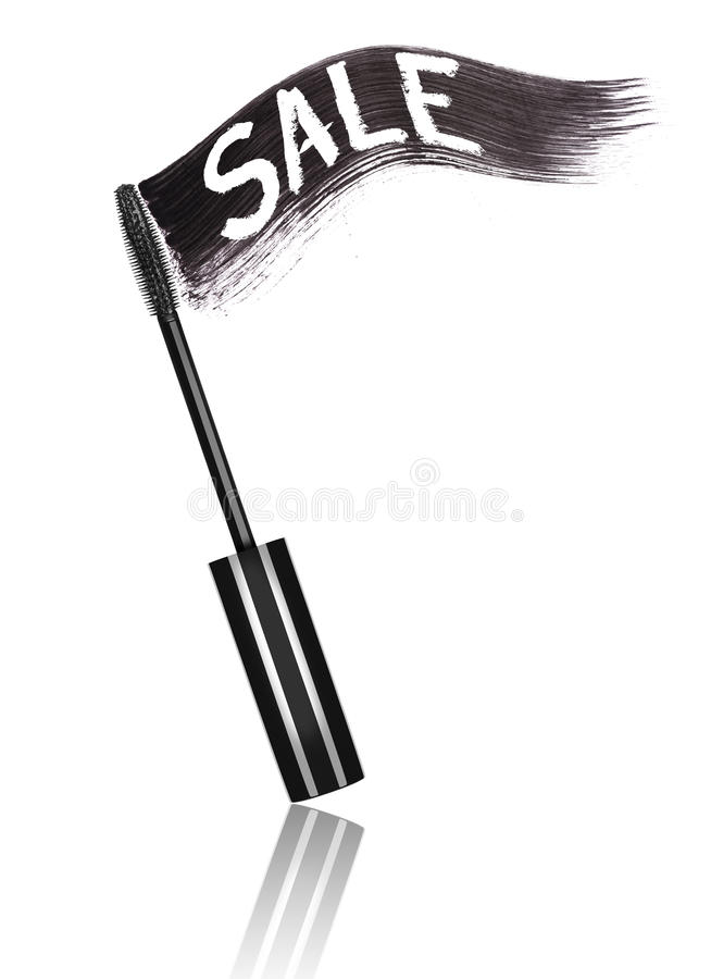 Curso do rímel preto com venda e escova da inscrição ilustração do vetor