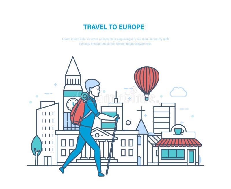Curso do verão a Europa Obtendo ao corrente com as vistas, cultura, construções ilustração royalty free
