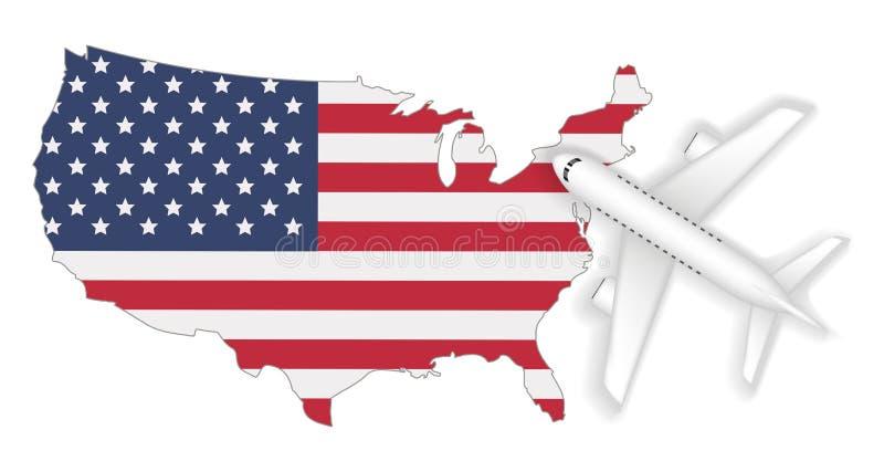 Curso do voo do avião ao mapa da bandeira de América ilustração royalty free