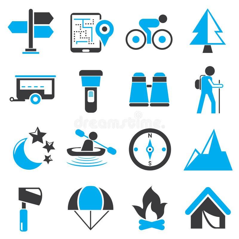 Curso e ícones de acampamento ilustração stock