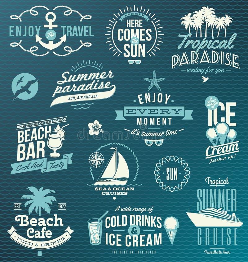 Curso e emblemas e símbolos das férias
