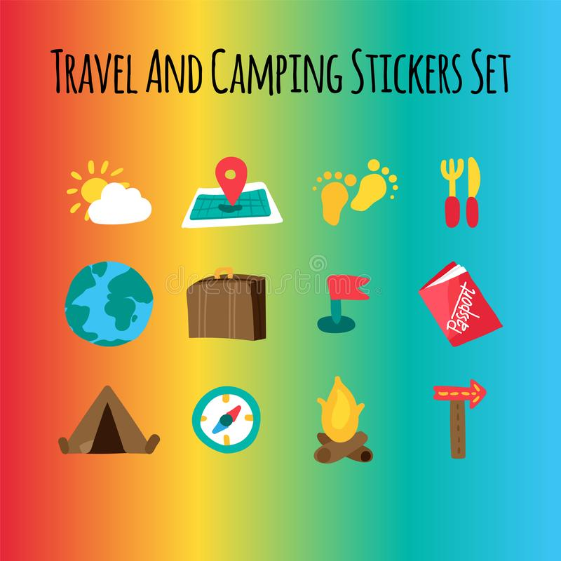 Curso e grupo liso de acampamento das ilustrações ilustração stock