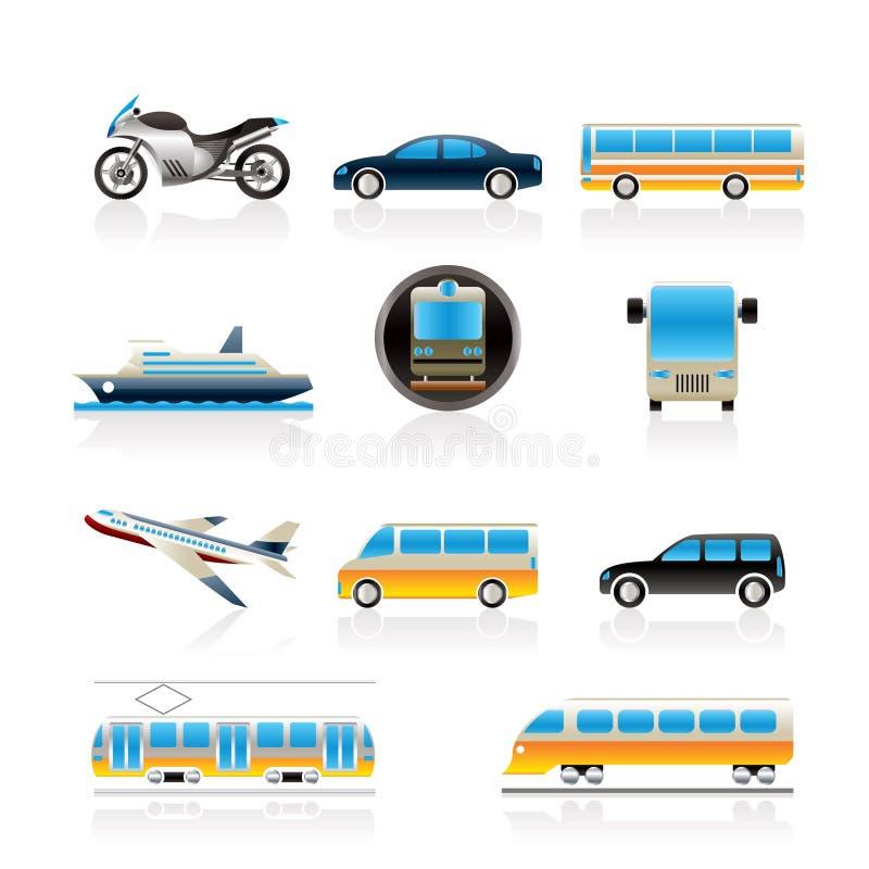 Curso e transporte de ícones dos povos ilustração royalty free