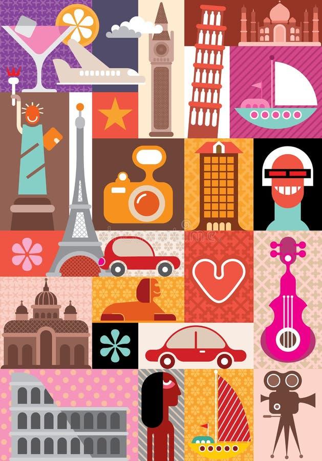 Curso e turismo ilustração stock