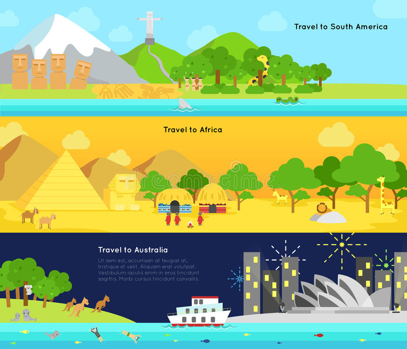 Curso e turismo ao continente principal de Ámérica do Sul, Afric ilustração royalty free