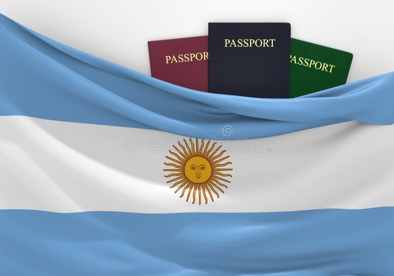 Curso e turismo em Argentina, com passaportes sortidos ilustração royalty free