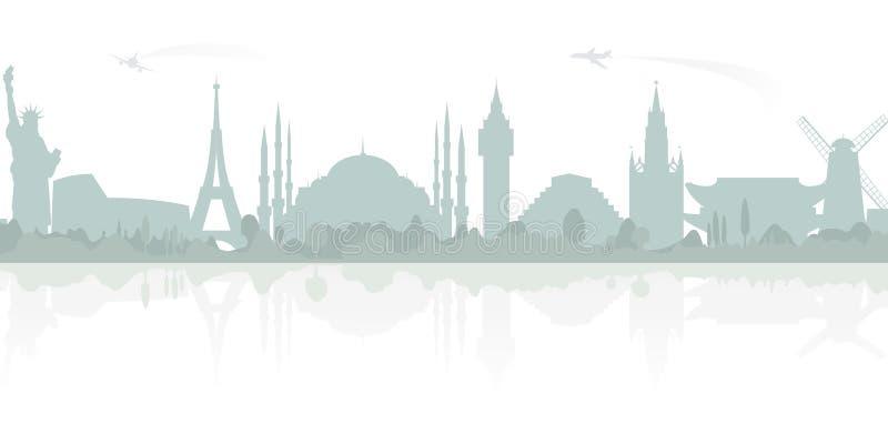 Curso e turismo Fundo do vetor com marcos do mundo ilustração royalty free