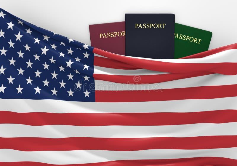 Curso e turismo no Estados Unidos, com passaportes sortidos ilustração royalty free