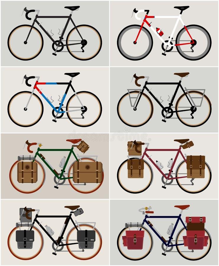 Curso e visita gráficos da cidade da bicicleta do vintage do clipart da ilustração do ícone do logotipo do vetor da bicicleta ilustração stock