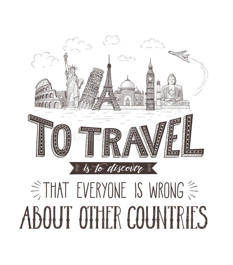 Curso e vistas do mundo Bandeira do turismo com citações da mão-rotulação ilustração stock
