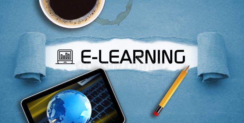 Curso em linha de aprendizagem em linha do ensino eletrónico fotografia de stock