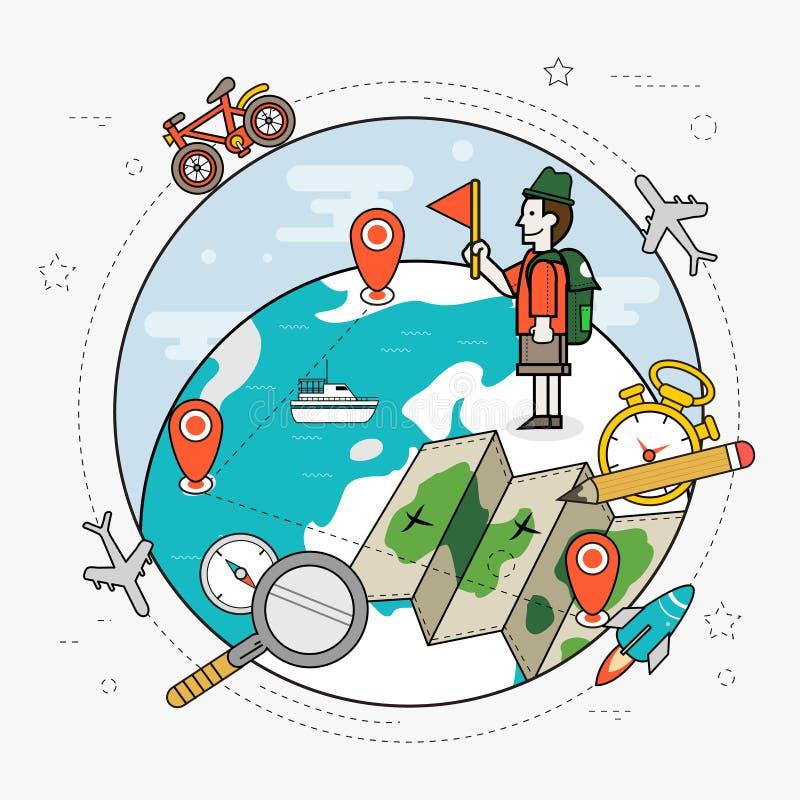 Curso em torno do conceito do mundo ilustração royalty free