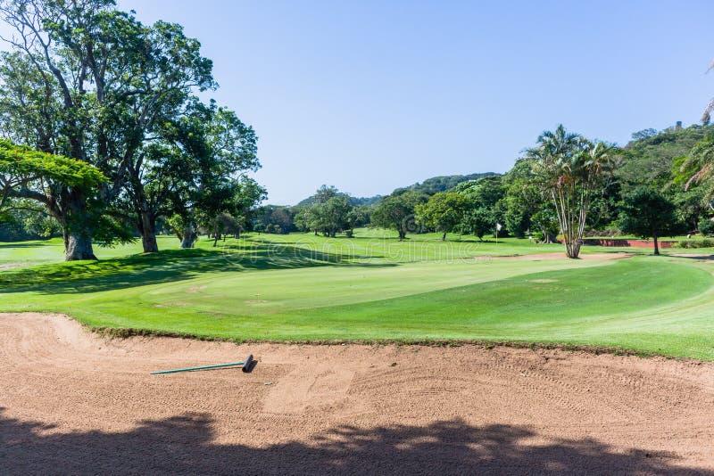 Curso escénico del agujero verde de la bandera del golf imágenes de archivo libres de regalías