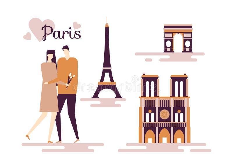 Curso a França - ilustração lisa colorida do estilo do projeto ilustração do vetor