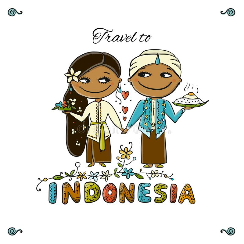 Curso a Indonésia Cartão para seu projeto ilustração royalty free