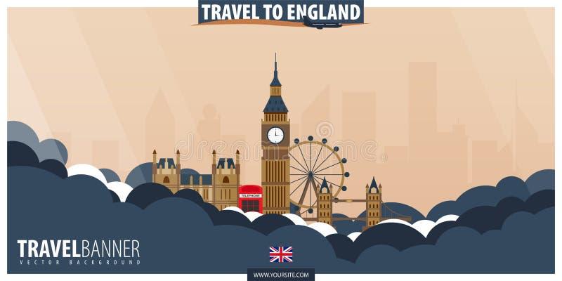 Curso a Inglaterra Curso e cartaz do turismo Illust liso do vetor ilustração do vetor