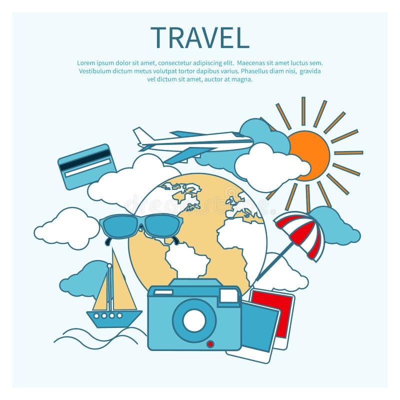 Curso internacional pelo avião ilustração stock
