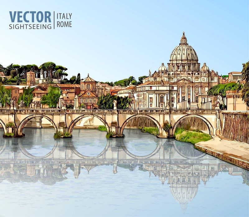 Curso a Itália Vista na catedral do ` s de St Peter em Roma ilustração royalty free