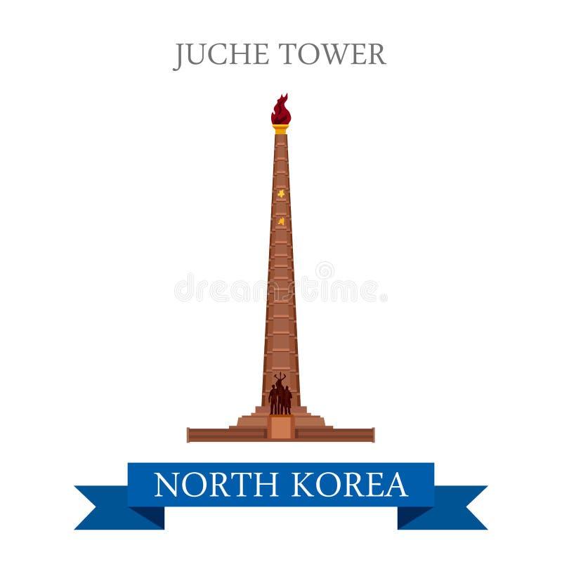 Curso liso da atração do vetor da Coreia do Norte de Pyongyang da torre de Juche ilustração do vetor