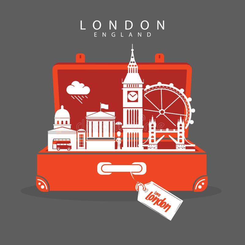 Curso a Londres Inglaterra e a marcos da visita ilustração royalty free