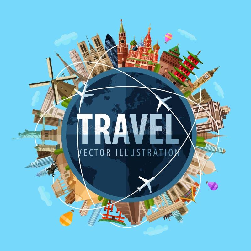 Curso, molde do projeto do logotipo do vetor da viagem mundo ilustração stock