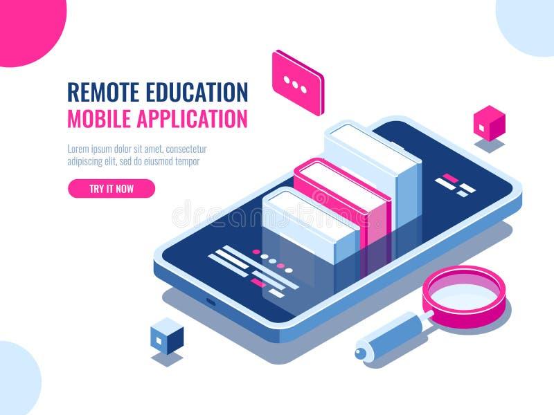 Curso na aplicação do telefone celular, educação em linha, curso do Internet, dados que procuram, desenhos animados do ebook do a ilustração royalty free