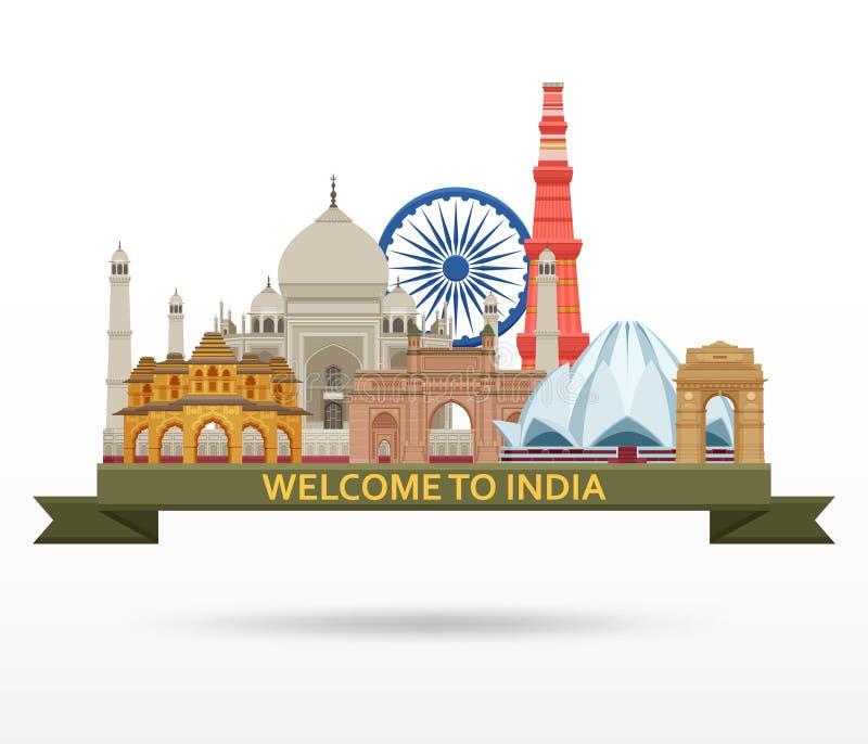 Curso no conceito da Índia Grupo o mais famoso indiano das vistas Construções arquitetónicas Atrações turísticas famosas ilustração royalty free