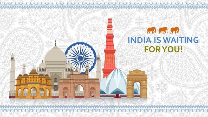 Curso no conceito da Índia Grupo o mais famoso indiano das vistas Construções arquitetónicas Atrações turísticas famosas ilustração do vetor