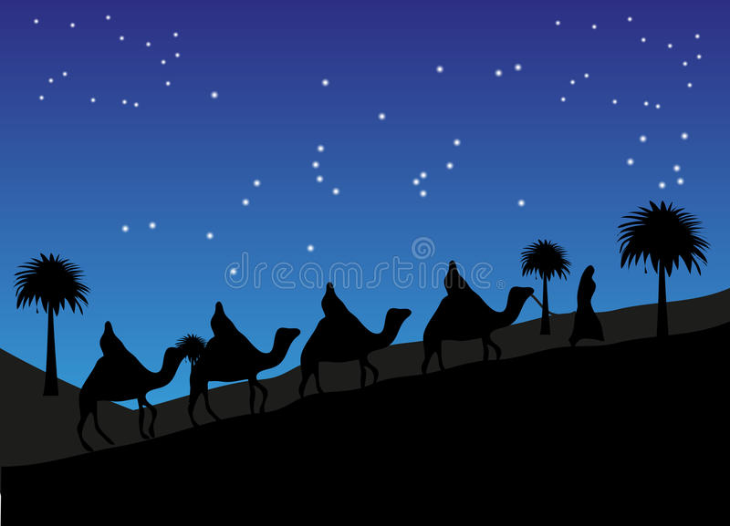 Curso no deserto usando camelos ilustração stock