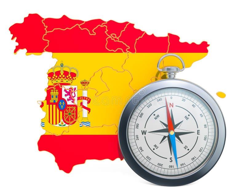 Curso ou turismo no conceito da Espanha rendi??o 3d ilustração stock